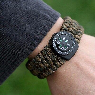 CAMO Paracord Survival Bracelet w/ Compass,Flint stone,& Whistle - Extra Wide