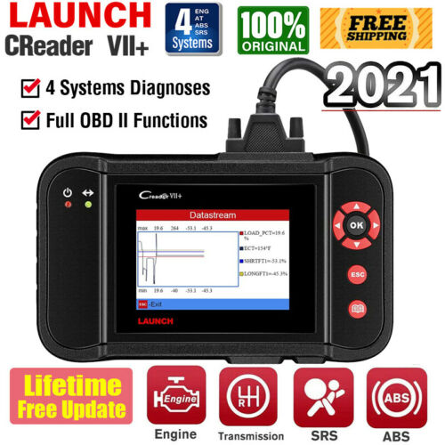 LAUNCH VII+ Car Check Engine OBD2 Scanner Code Reader ABS SRS AT Diagnostic Tool