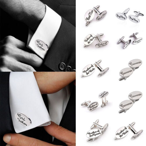 Men's Silver Oval Wedding Cufflinks Cuff Links Groom Bride Brother Usher Gift