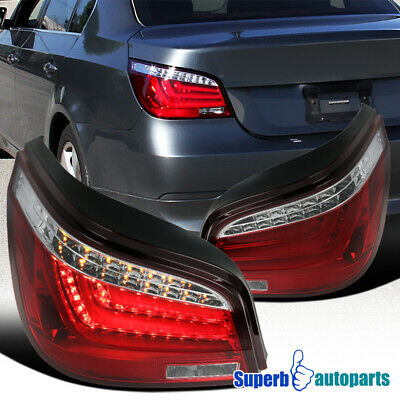 For 2004-2007 BMW E60 5-Series 525i/530i 4Dr Red Tail Brake Lights w/ LED Bar