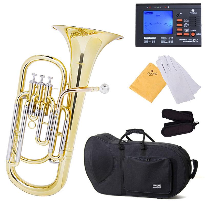 """Mendini Brass Baritone Horn, Bb, 3-Monel Valve, 9"""" Bell"""
