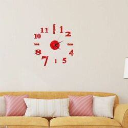 Large DIY 3D Frameless Number Wall Clock Mirror Sticker Home Office Decor Red