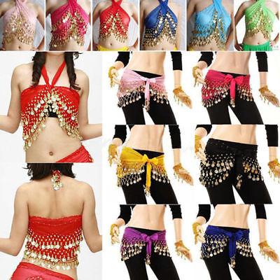Women 3 Rows Gold Coin Belly Dance Costume Hip Scarf Skirt Belt Dancing Wrap - Coin Belt
