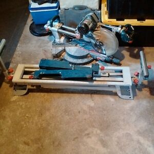 "10"" bosch sliding mitre saw and bosch stand"