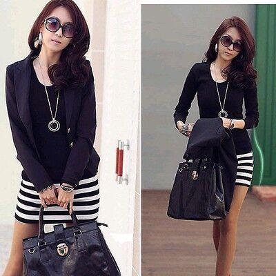 Women Ladies Long Sleeve Crew Neck Stripe Casual Cotton Mini Dress Size S M L XL