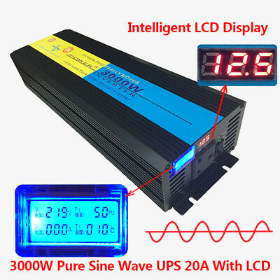 3000W/6000W Pure Sine Wave Power Inverter 12V DC to 230V AC UPS Charger battery