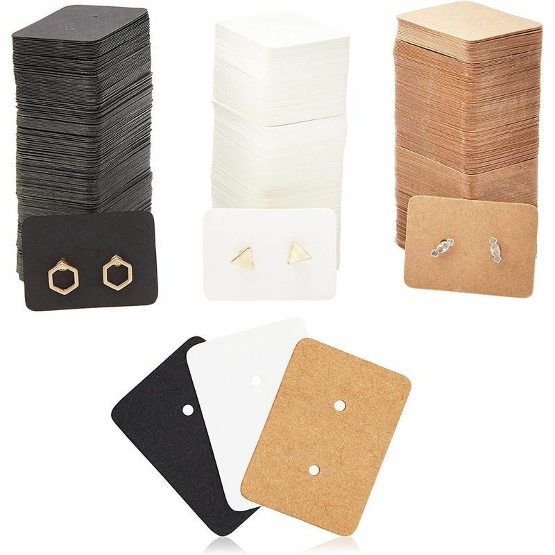 300Pack 1.3x1in Rectangle Earring Holder Cards for Display Jewelry Bulk