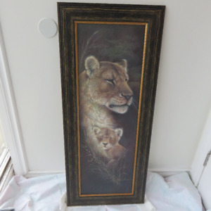 LION PICTURE WITH FRAME OFFICE, HOME DECOR, CRAFTS OR HOBBIES