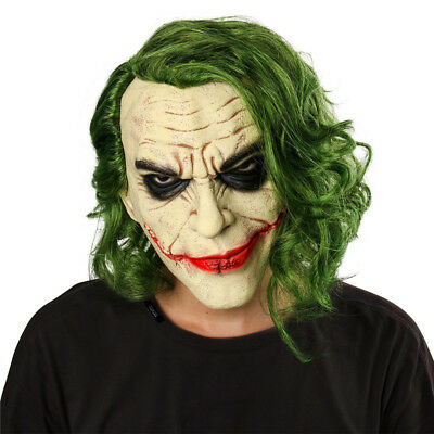 Halloween Batman Joker mask Cosplay Horror Scary Clown Mask with Green Hair - Clown Joker Mask