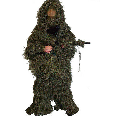 Gillie Ghillie Suit 5 Pc Woodland Camouflage Camo New Pants Jacket Hood Gun Bag