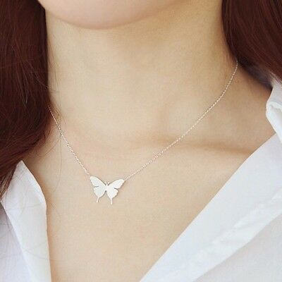 "Small BUTTERFLY  Pendant Necklace Silver or Gold Plated 18"" N138"