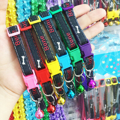 2Pcs Dogs Collars Cats Necklace Jeans Pattern Embroidered Bone Choker Leash