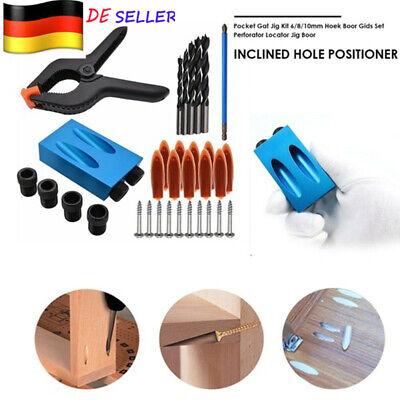 10 Vorrichtung (34X Taschenloch Bohrvorrichtung 6/7 8 9 10mm Schrägloch 15°Bohrschablone Führung)