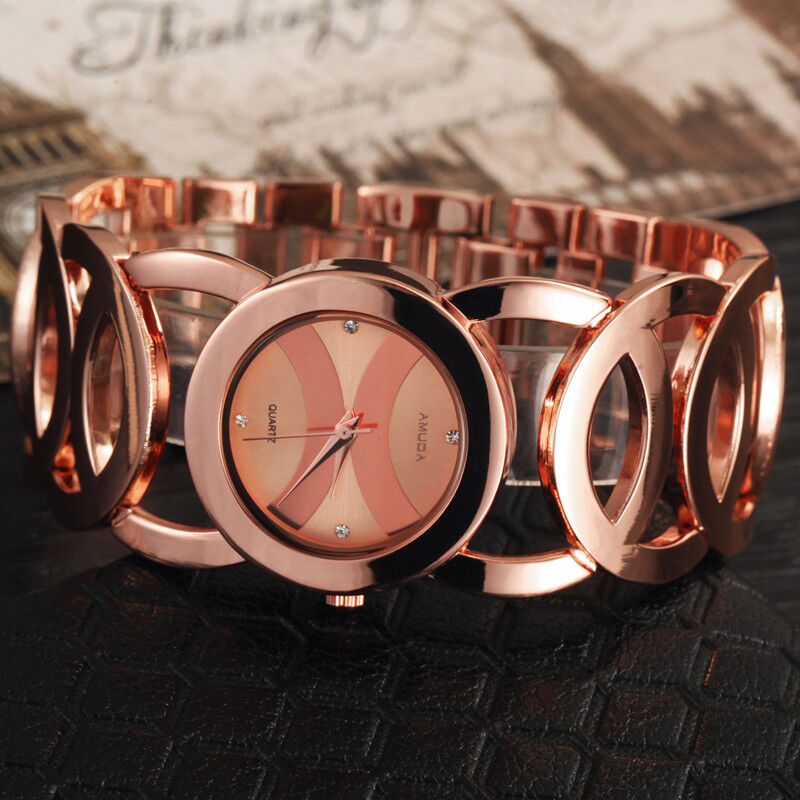 Ladies Women Gold Rose Gold Watch Luxury Rhinestones Dial Analog Quartz Gift