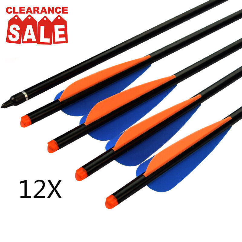 Crossbow Bolts  Aluminum Hunting Arrows Fletched 4 Inch Vanes with Replaceable