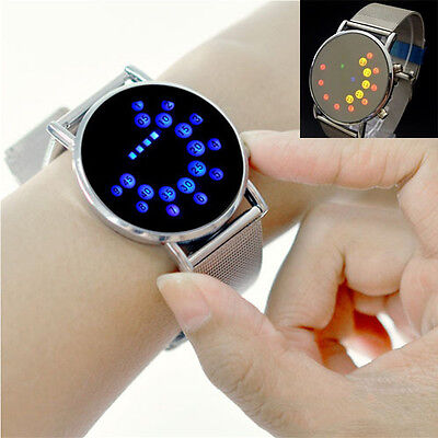 Waterproof Stainless Steel Band Mens Cool Disply Led Binary Digital Wrist Watch
