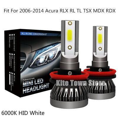 2x H11 LED Fog Light For 2006-2014 Acura RLX RL TL TSX MDX RDX 6000K White Bulbs
