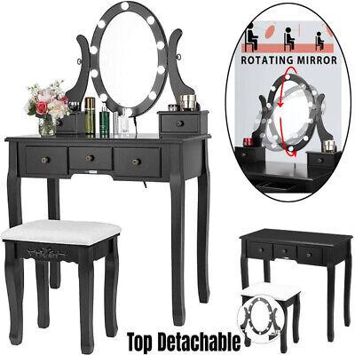 Vanity Table Set Makeup Dressing Table w/ 10 LED Lights 5 Drawer Rotating Mirror