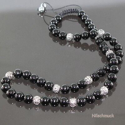 Herren Shamballa Halskette mit Antik Fleur De Lis Beads Onyx Perlen Modeschmuck