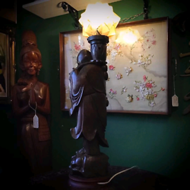19th C Hardwood root carved immortal lamp
