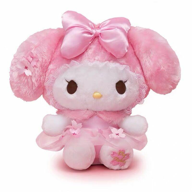 Kawaii My Melody Plush Doll Stuffed Toy Pink Flower Bow Cute Kid Nice Gift 18cm