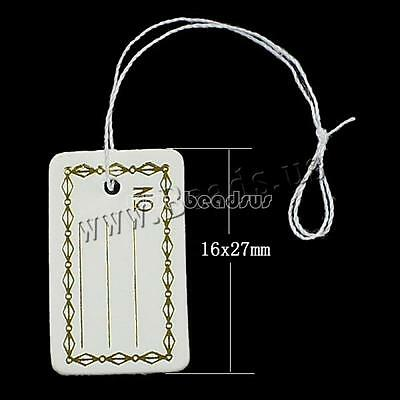 500 Pcs Label Tie String Strung For Jewelry Merchandise Paper Price Tags