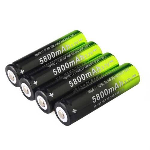 4X 5800mAh 18650 Li-Ionen-Akkus + Ladegerät für Scheinwerfer-Taschenlampe DE