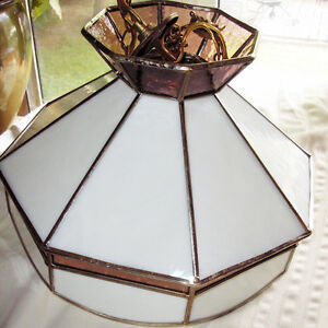 Vintage White and Burgundy Stained Glass Hanging Light Fixture.