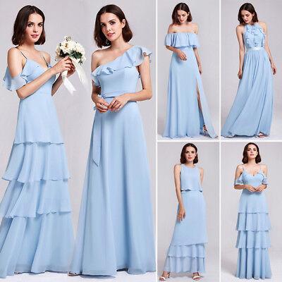 Sky Long Dress (Ever-pretty Long Spaghetti Straps Prom Dress Chiffon Bridesmaid Dresses Sky)