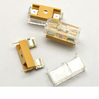 6 Pcs - Agc Pcb Fuse Holder Chassis Mount 6x30mm With Cover Usa Free Shipping