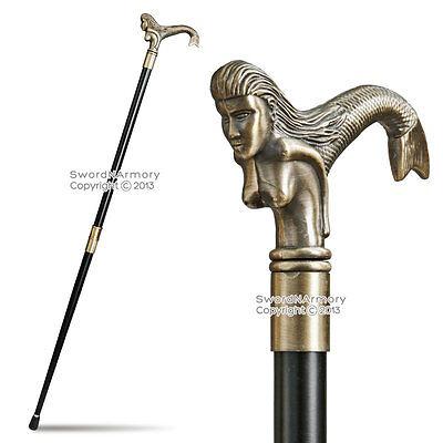 Fancy Mermaid Handle Grip Two-Piece Walking Cane Gentleman Stick Steel Staff