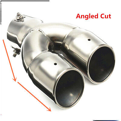 """76mm 3"""" Universal Twin Double Chrome Exhaust Tip Slant Angled Cut Car Stainless"""