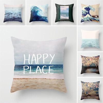 Ocean Style Sea Wave Polyester Throw Pillow Case Cushion Cover Sofa Home Decor ()