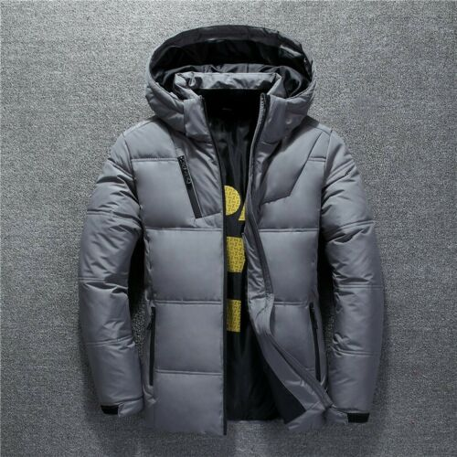 Details about Men's Duck Down Padded Jacket Removable Hooded Slim Fit Winter Warm Coat Outwear