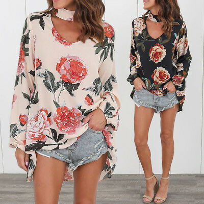 Women Printed Floral V-neck Top Long Sleeve Shirt Casual Blouse Loose T-shirt