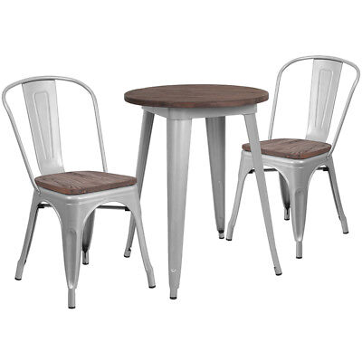 24 Round Silver Metal Restaurant Table Set With Walnut Wood Top And 2 Chairs