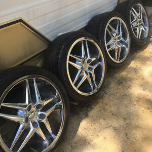 "DUB 18"" rims chev 5 bolt and Good tires 225 40 r18 Sell or Trade"