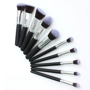 Image result for 10pcs Kabuki Style Professional Make up Brush Set Foundation Blusher Face Powder