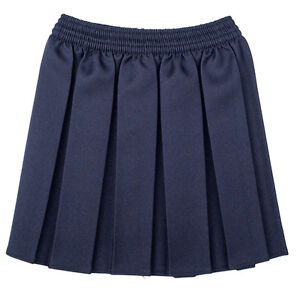 GIRLS BOX PLEAT ALL ROUND ELASTICATED SKIRT SCHOOL UNIFORM