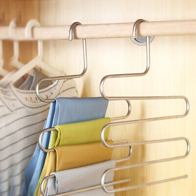 Hanging Hanger Organizer Closet Stainless steel Scarf Tie Jeans Space Saver Hot (Jeans-space Saver Hanger)
