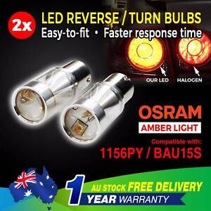 2PCS Amber 12-24V 60W LED OSRAM 1156PY BAU15S PY21W Car Tail Bulb North Melbourne Melbourne City Preview