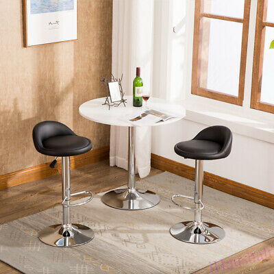 2* Adjustable Breakfast Bar Stool Faux Leather Chair Swivel Gas Lift Kitchen Pub