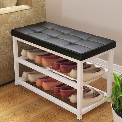 Shoe Rack Ottoman Bench Black PU Leather Metal Storage Shelf Organizer Decor