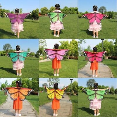 Kids Girls Soft Cloth Fabric Butterfly Wings Costume Wrist Straps Cape Cosplay - Girls Butterfly Wings