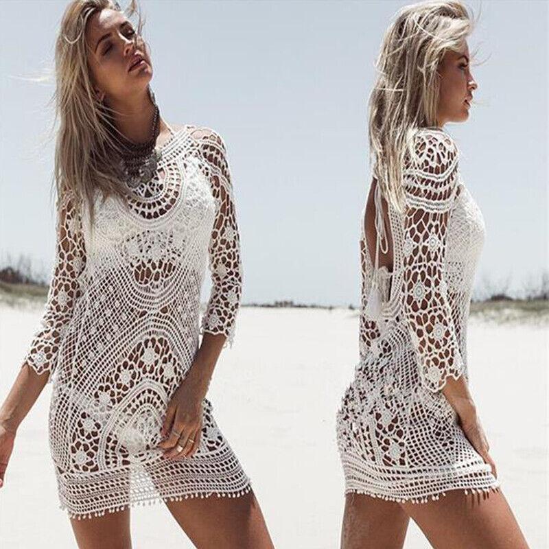 Damen Häkelspitze Bikini Cover Up Verdeckung Strandkleid Badeanzug Lang Blusen