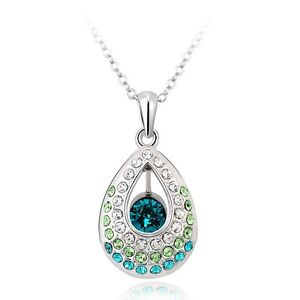 Lady's Fashion Peacock's Tear Crystal Pendant Necklace