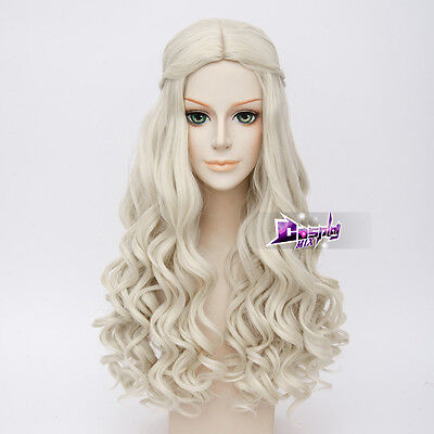 Women Cosplay for White Queen Long Curly White Alice Anime Cosplay Wig + Cap - Wigs For White Women