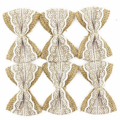 Crafts 10-100pcs Hessian Jute Burlap Lace Bows DIY Crafts Bow Ties Wedding Party Decor