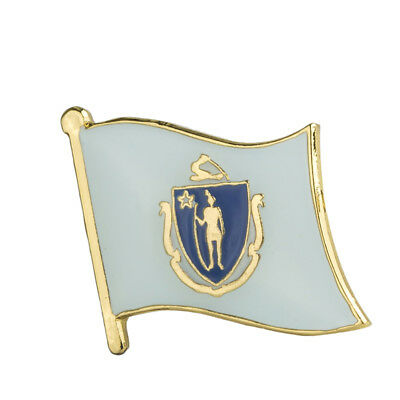 Massachusetts Flag Lapel Pin 19 x 16mm Hat Tie Tack Badge Pin Free Shipping