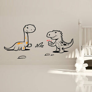 Dinosaures enfants mural autocollant cr che art mural for Decalque mural